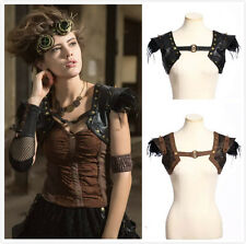 RQ-BL SP174 Gothic Steampunk With Feathers Top Harness Bolero Vest Shrug Jacket