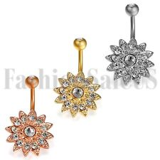 Surgical Steel Belly button Ring Zircon Flower Body Piercing Navel Jewelry New
