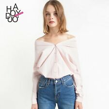 Europe Sweet Spring New Fashion Women Boat Collar Off Shoulder Solid Shirt Tops