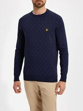 Lyle And Scott Mens Knitwear KN602V Crew Neck Jacquard Jumper-Navy