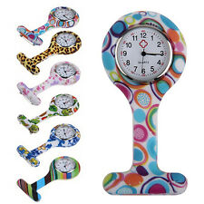 Fashion Patterned Silicone Nurses Brooch Fob Pocket Watch Stainless Dial Sassy