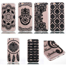 Fashion Ultra Thin Henna Pattern Soft TPU Case Cover For iPhone 7/7+ Samsung w