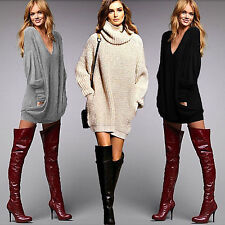 Women Chunky Knit Jumper Pocket Oversize Loose Pullover Sweater Jumper Dress