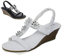New Ladies Sandals Mid Wedge Diamante Comfort Walking Summer Beach Shoes Size