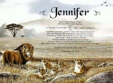 Lions or Tigers Personalized Any Name Meaning Birthday Animal Wall Decor Print