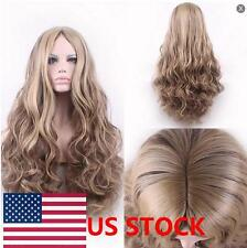 Women Long Curly Wig Full Wigs Flaxen Blonde Wigs Hairs Cosplay+ Hair Cap