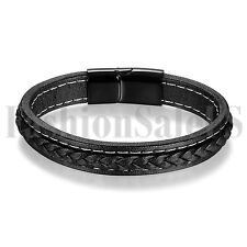 Men's Women's Black Leather Stainless Steel Clasp Simple Bangle Bracelet Cuff