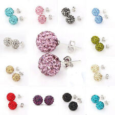 Sterling Silver Rhinestone Ball Stud Crystal Earrings Crystals chic Jewelry