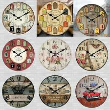 Wall Clock Wooden Rustic Retro Shabby Chic Home Kitchen Decor Art Works 24 Types