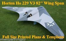 """Horten Ho-229 82"""" WS 1/8 Scale RC Airplane Full Size PRINTED Plans & Templates"""