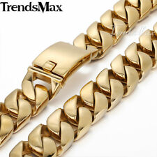 "24mm MENS Gold Plated Chain 316L Stainless Steel Necklace 18-36"" Curb Link Heavy"