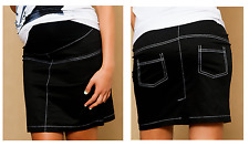 BLACK SPRING SUMMER COTTONCLASSIC PREGNANCY MATERNITY SKIRT BELLY BAND 8-16