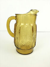 vintage amber glass water pitcher 1970's