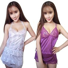 Women Lace Robe Lingerie Babydoll Dress Sleepwear + G-string Underwear Nightwear
