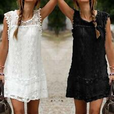 Women Lace Sleeveless O Neck Casual Mini Sundress Plus Size Shift Dress V0Y0