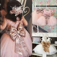 Princess Baby Kids Girl Bowknot Lace Floral Dress Wedding Party Formal Dresses