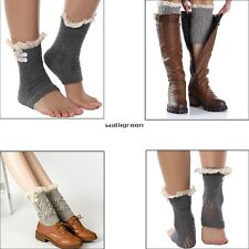 New Women Girls Crochet Knit Lace Trim Button Leg Warmers Boot Cuffs Socks WN