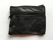 MENS WOMENS BOYS BLACK LEATHER ZIP COIN PURSE WALLET POUCH KEY RING CASE MONEY