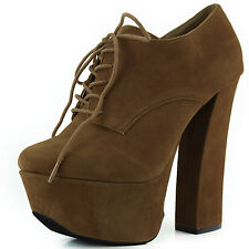 Women Extreme Platform Laced Up Ankle Thick Chunky High Heel Booties Shoes