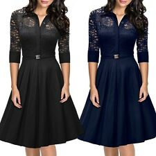Vintage Audrey Hepburn Style V-Neck Swing Lapel Shirt Rockabilly Pinup Dress
