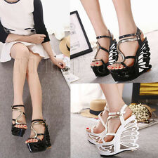 Sexy Womens Open Toe High Heel Platform Wedge Party Ankle Strappy Sandals Shoes