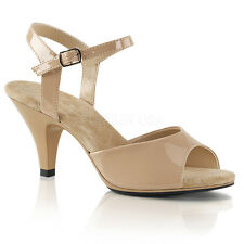 Nude Cream Low Heels Strappy Sandals Mens Drag Queen Ballroom Shoes Womans 14 15