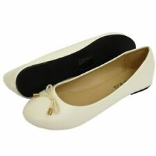 WOMENS FLAT WHITE SLIP-ON SUMMER SCHOOL SHOES DOLLY BALLERINA PUMPS UK 3-8