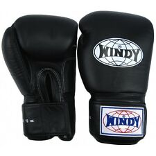 WINDY MUAY THAI BOXING GLOVES -BGVF-BLACK-100% LEATHER-QUALITY -MADE IN THAILAND