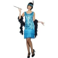 Teal Fringed Flapper Fancy Dress Costume Charleston 1920s Womens Ladies Outfit