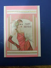 Hand Made Birthday Card Female Art Deco Lady pink dress with glitter & hat