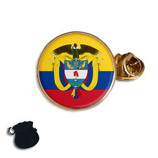 COLOMBIA FLAG & COAT OF ARMS ENAMEL  LAPEL PIN BADGE GIFT