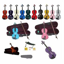 New Beginner Student Violin,Case,Bow+Extra Strings,2 Bridges,Shoulder Rest+Tuner