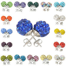Disco Ball Beads Ear stud Earrings Crystal Rhinestones Colourful Iron 19 Colors