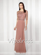 Chiffon Mother Of The Bride Dresses Lace Appliques Beads Half Sleeve Formal Gown