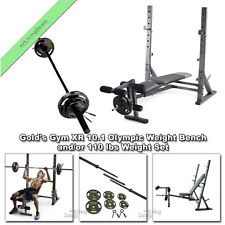 Gold Gym Olympic Bench XR10.1 &/or 110 lb Golds Bar Weight Set Lifting Equipment