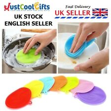 WASHING UP SPONGE SILICONE DISH SCRUBBER KITCHEN CLEANING REUSEABLE UK SELLER