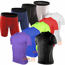 Mens Base Layer Shirt Athletic Under Baselayer Armour Running Compression Shorts