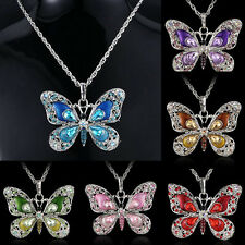 Crystal Butterfly Rhinestone Pendant Necklace Jewelry Long Sweater Chain Sweet