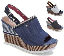 WOMENS WEDGE HEEL ANKLE SLINGBACK PEEPTOE DENIM  LADIES CLEATED SANDALS SHOES