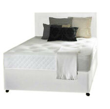 5FT KINGSIZE WHITE LEATHER BED, MEMORY MATTRESS,HEADBOARD DOUBLE BED DOUBLE BASE