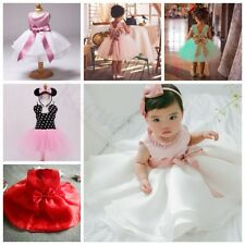 Infant Baby Girls Bow Pearl TuTu Dress Princess Pageant Wedding Bridesmaid Party