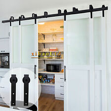 8-20FT Bypass Sliding Barn Wood Door Hardware Black Rustic Track Kit For 4 Doors