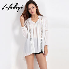 All-Match 2017 Spring Fashion Women Sexy V-Neck Hollow Lace Stitching Shirt Tops