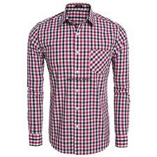 Men Fashion Slim Long Sleeve Plaid Button Down Casual Shirts WN01