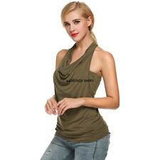 Zeagoo Women Cowl Neck Backless Solid Ruched Twinset Tank Tops WN01
