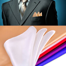 Men Silk Pocket Square Handkerchief Plain Solid Color 35x35 cm for Wedding Party