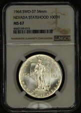 1964 Official US Mint Silver Medal, Nevada Centennial NGC MS-67