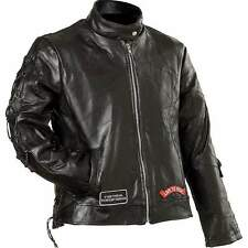 Diamond Plate™ Ladies'  Genuine Buffalo Leather Motorcycle Jacket GFLADLTR