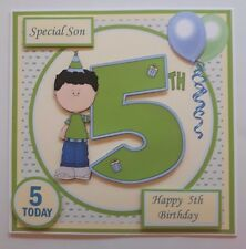HANDMADE 5TH BIRTHDAY CARD WITH 3D BOY & NUMERAL. ANY RELATIVE OR NAME