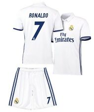 Real Madrid Soccer White Home Jersey & Shorts Uniform #7 Ronaldo Adult Mens